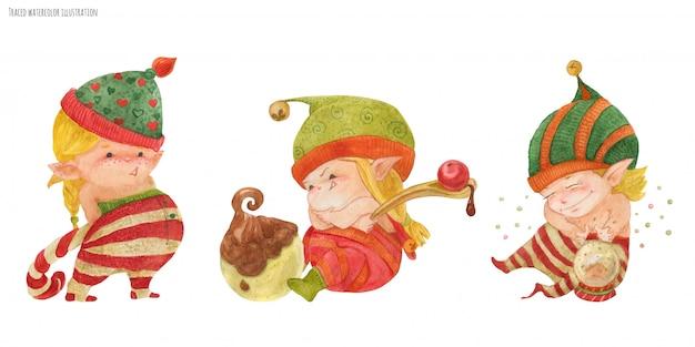 Tre piccoli elfi dei cartoni animati