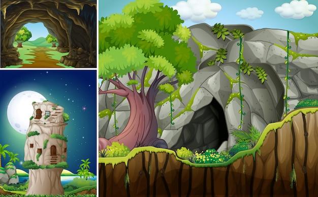 Tre scene con grotta e montagna