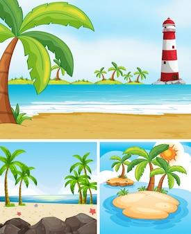 Tre scene con oceano e l'isola