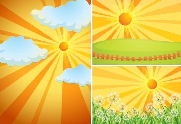 Tre scene di sfondo con sole splendente