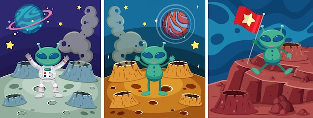 Tre scene spaziali con alieni sullo strano pianeta