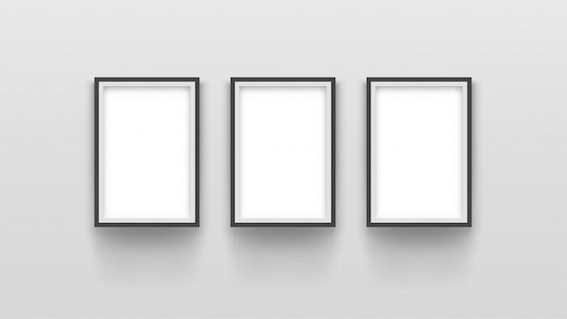 Tre semplici cornici su grigio