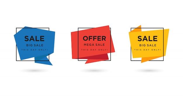 Tre set di modello di banner origami con tre opzioni di colore