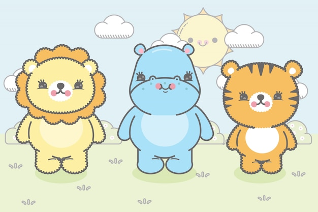 Tre simpatici animaletti della giungla in stile kawaii. premium