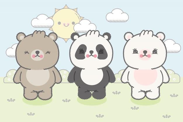 Tre simpatici orsetti in stile kawaii. premium