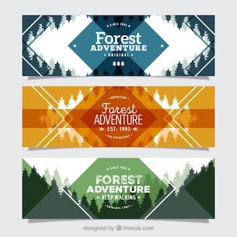 Tre striscioni per l'avventura della foresta