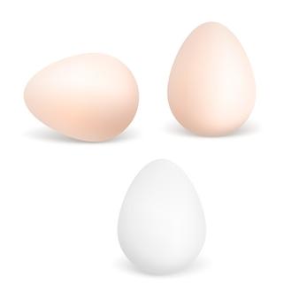 Tre uova bianche e marroni realistiche. uova di gallina isolate su sfondo bianco.