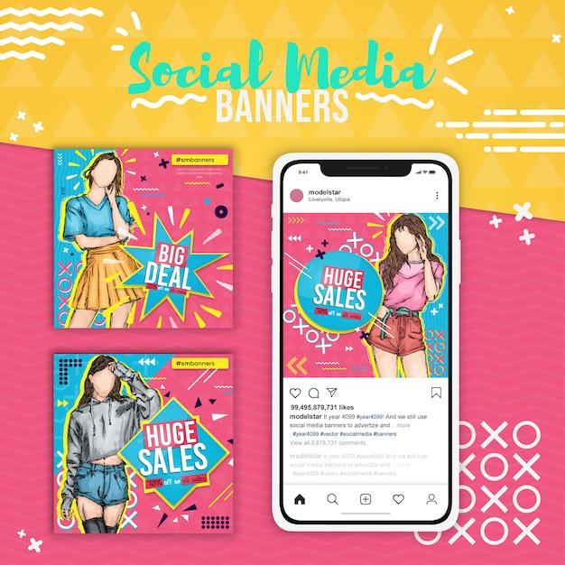 Tre vendite di moda, banner social media pop art
