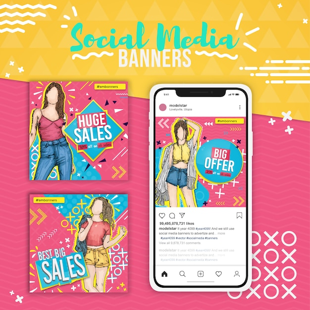 Tre vendite di moda, banner social media pop art