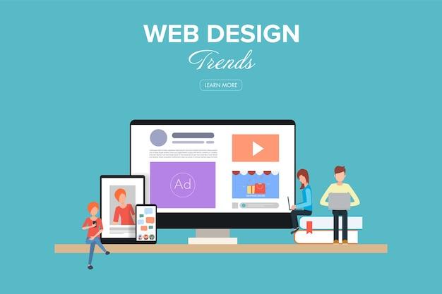 Trend del web design. spazio di lavoro piatto per un design creativo.