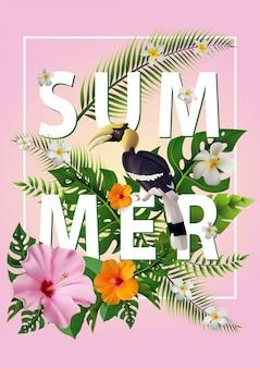 Trendy summer tropical