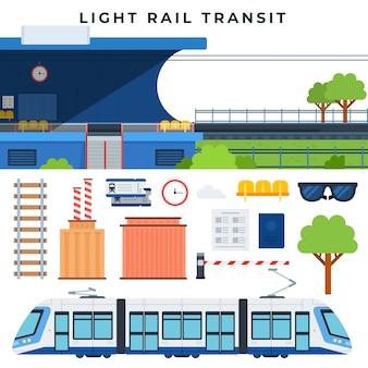 Treni passeggeri transito ferroviario. trasporto ferroviario della città moderna, set di elementi vettoriali. illustrazione vettoriale in stile piatto.