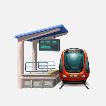 Treno alla vista frontale della stazione