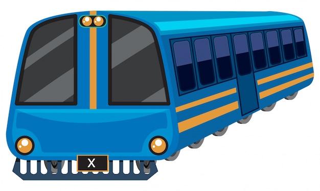 Treno blu su sfondo bianco