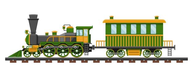 Treno d'annata sull'illustrazione di progettazione della ferrovia isolata su fondo bianco