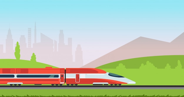 Treno della metropolitana e paesaggio urbano urbano. metropolitana di transpotion e ferrovia