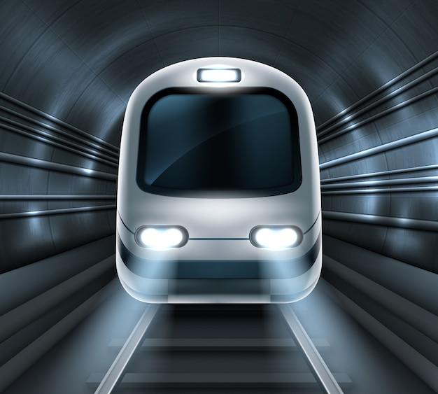 Treno della metropolitana nella locomotiva di vista frontale del tunnel della metropolitana