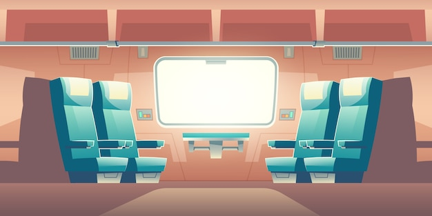 Treno dentro l'illustrazione vuota interna del pendolare ferroviario