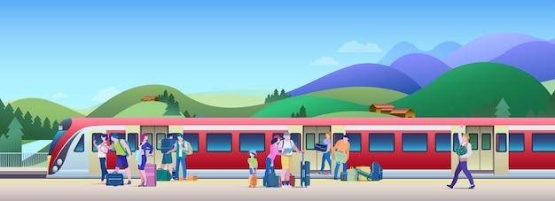 Treno di imbarco all'illustrazione di vettore della stazione ferroviaria. le persone salgono in treno dalla piattaforma.
