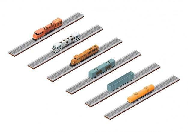 Treno isometrico sulla pista isolata su bianco.