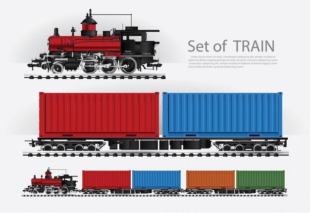 Treno merci su un'illustrazione della strada di ferrovia