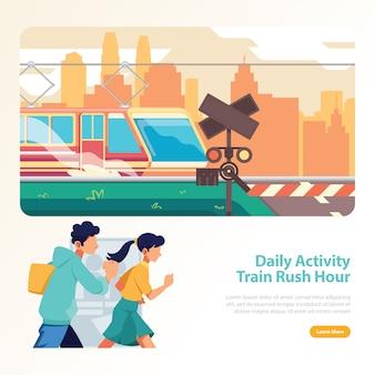 Treno nell'ora di punta la gente che corre sulla stazione ferroviaria