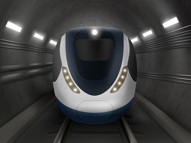 Treno o metro, vista frontale, locomotiva della metropolitana