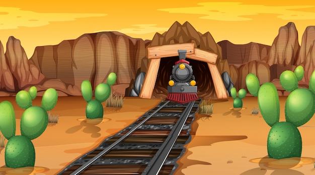 Treno tracce nel deserto
