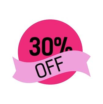 Trenta per cento di sconto lettering in cerchio rosa con nastro lilla