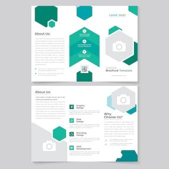 Tri brochure design pieghevole per affari aziendali bifacciale