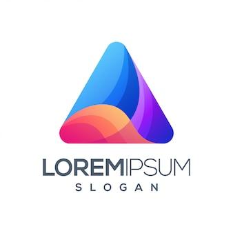 Triangolo colorato gradiente logo design