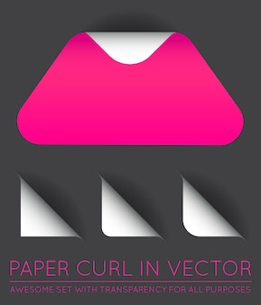 Triangolo di carta con set di riccioli
