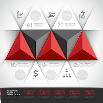Triangolo moderno di affari di infographics 3d.