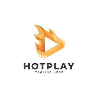 Triangolo moderno pulsante play e logo fiamma fuoco