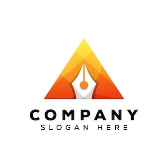 Triangolo penna logo design, lettera a penna logo
