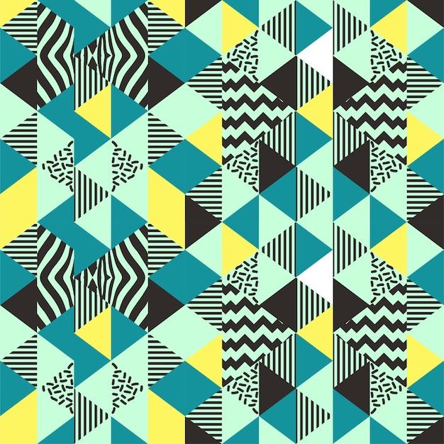 Triangolo seamless con memphis art anni '90 alla moda