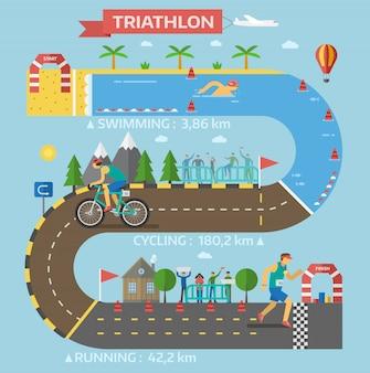 Triathlon gara gioco vettoriale.
