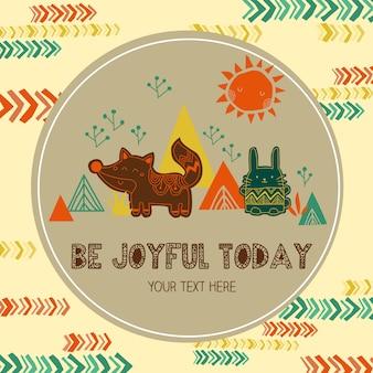 Tribal animal cute card