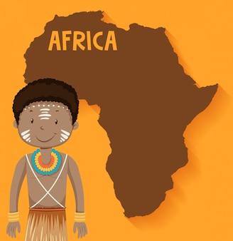 Tribù native africane con mappa sullo sfondo