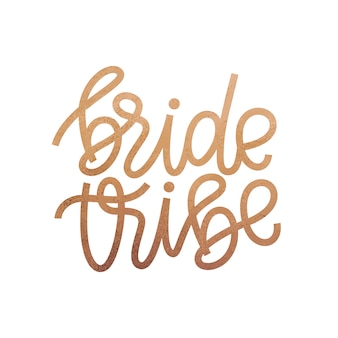 Tribù sposa pennello mano lettering illustrazione vettoriale.