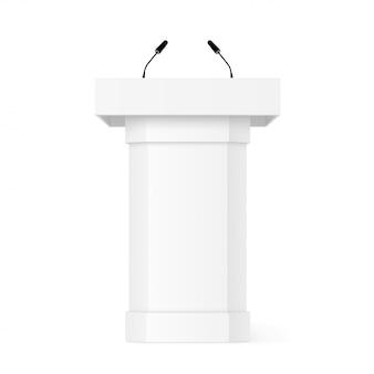 Tribuna podio 3d con microfoni. realistico con ombra. supporto per rostro. podio bianco di dibattito. discorso di pupitre. basamento della fase isolato su priorità bassa bianca