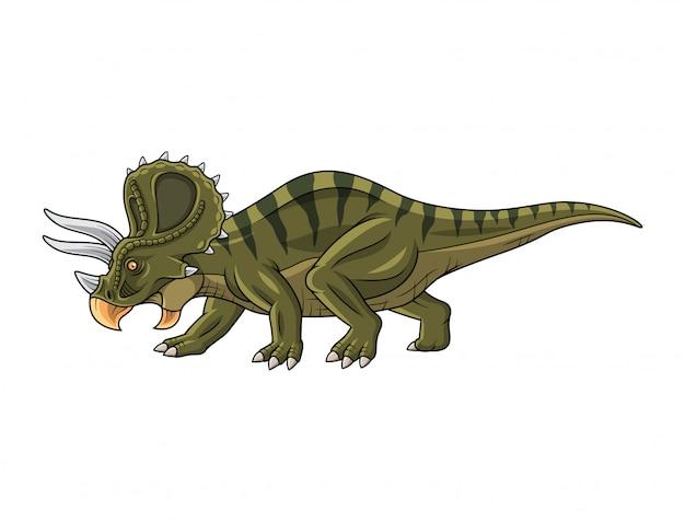 Triceratopo cartone animato isolato su sfondo bianco