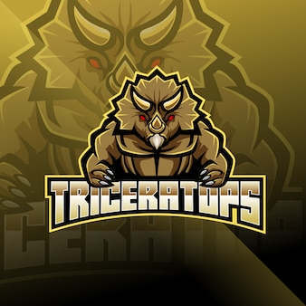Triceratopo esport logo mascotte design