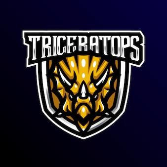 Triceratopo mascotte logo esport gioco