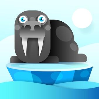Tricheco riposa su un'illustrazione di ghiaccio-vettore di galleggiamento