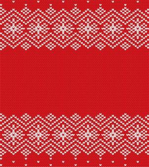 Tricottare l'ornamento geometrico di natale tricottato maglia maglione di colore rosso invernale.