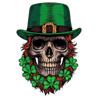 Trifoglio di teschio leprechaun celtico irlandese di festa di san patrizio