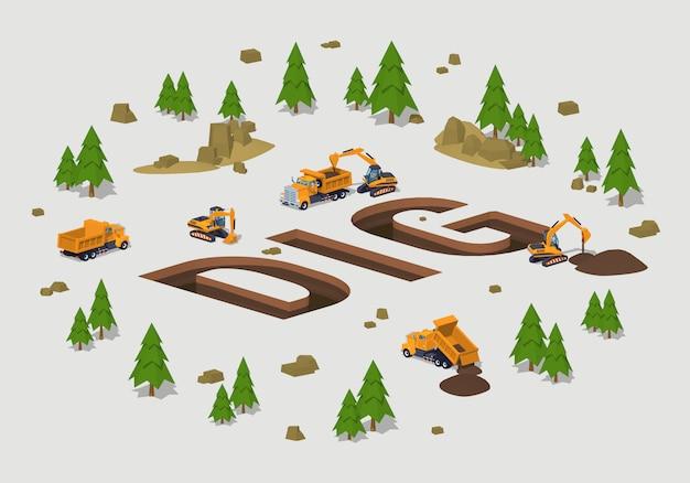 Trincee isometriche in 3d lowpoly nella forma della parola dig