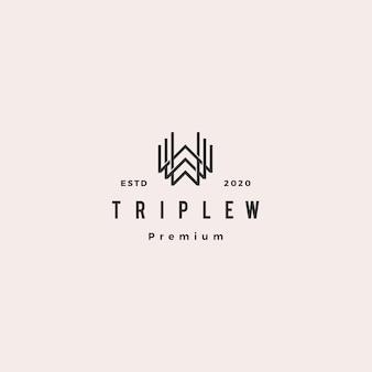 Triplo w monogramma www lettera hipster retrò vintage lettermark logo per il marchio