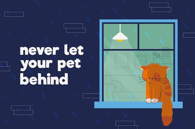 Triste gattino lasciato alle spalle
